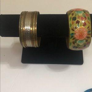Two vintage metal bangles